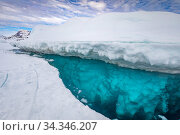 Купить «Iceberg with open water separating it from frozen sea. Tasiilaq, East Greenland. April 2018.», фото № 34346207, снято 3 августа 2020 г. (c) Nature Picture Library / Фотобанк Лори