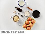 Купить «cooking ingredients and kitchen tools for baking», фото № 34346383, снято 13 февраля 2020 г. (c) Syda Productions / Фотобанк Лори