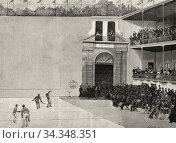 Купить «Playing Basque ball in the pediment of Jai-Alai de San Sebastián ...», фото № 34348351, снято 5 июня 2020 г. (c) age Fotostock / Фотобанк Лори