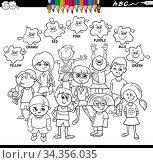 Black and White Cartoon Illustration of Basic Colors Educational Worksheet... Стоковое фото, фотограф Zoonar.com/Igor Zakowski / easy Fotostock / Фотобанк Лори