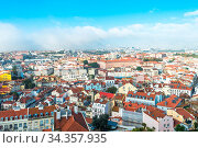 View above the old town of Lisbon to the new postmodern quarter with... Стоковое фото, фотограф Zoonar.com/Stefan Laws / easy Fotostock / Фотобанк Лори