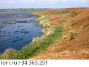 Blue water of lake Kizyl-Yar and sandy shores in sedge thickets on a sunny summer day in Crimea. Стоковое фото, фотограф Яна Королёва / Фотобанк Лори