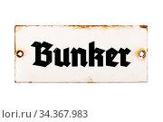 Bunker, altes und rostiges Türschild aus Emaille, isoliert auf weißem... Стоковое фото, фотограф Zoonar.com/Thomas Hecker / easy Fotostock / Фотобанк Лори