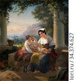 Storch Frederik Ludvig - Italienische Familie Auf Der Terrasse - ... Редакционное фото, фотограф Artepics / age Fotostock / Фотобанк Лори