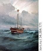 Locher Carl Ludvig - the Lightship at Skagen Reef - Danish School... (2020 год). Редакционное фото, фотограф Artepics / age Fotostock / Фотобанк Лори