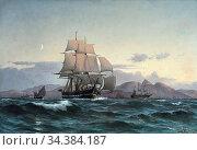 Locher Carl Ludvig - the Frigate Jylland off the Coast of Madeira... (2020 год). Редакционное фото, фотограф Artepics / age Fotostock / Фотобанк Лори