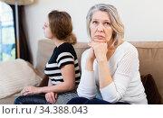 Women after quarrel at home. Стоковое фото, фотограф Яков Филимонов / Фотобанк Лори