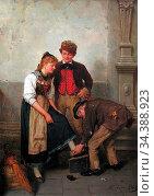 Beek Theodore Von Der - the Shoe Shiner - German School - 19th Century... Редакционное фото, фотограф Artepics / age Fotostock / Фотобанк Лори