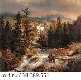 Achenbach Andreas - Fischer Am Wildbach - German School - 19th and... Редакционное фото, фотограф Artepics / age Fotostock / Фотобанк Лори