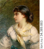Bach Guido - Portrait of a Young Woman - German School - 19th Century. Редакционное фото, фотограф Artepics / age Fotostock / Фотобанк Лори