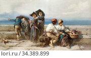 Bach Guido - Young Love the Bay of Naples - German School - 19th ... Редакционное фото, фотограф Artepics / age Fotostock / Фотобанк Лори