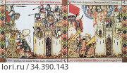 Christian castle been sieged by Moors. Fol. 228. Narrative vignette... Стоковое фото, фотограф Juan García Aunión / age Fotostock / Фотобанк Лори