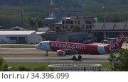 Airbus A320 airliner landing. Редакционное видео, видеограф Игорь Жоров / Фотобанк Лори