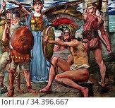 Corinth Lovis - Odysseus IM Kampf Mit Den Freiern - German School... Редакционное фото, фотограф Artepics / age Fotostock / Фотобанк Лори