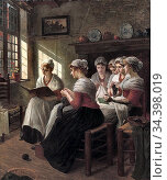 Firle Walther - Girls Knitting in the Sunlight 1 - German School - ... Стоковое фото, фотограф Artepics / age Fotostock / Фотобанк Лори