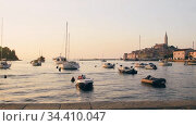 Rovinj marina and city view at sunset. Стоковое видео, видеограф Сергей Петерман / Фотобанк Лори