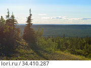 Evening in mountains. Last rays of sun. Finnish Lapland (2016 год). Стоковое фото, фотограф Валерия Попова / Фотобанк Лори