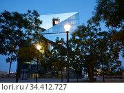 Berlin, Germany - The office building Cube Berlin with its folded glass facade. . Редакционное фото, агентство Caro Photoagency / Фотобанк Лори