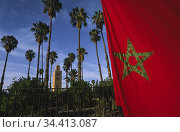 Marrakesh, Morocco, Moroccan national flag with Koutoubia mosque and palm trees (2010 год). Стоковое фото, агентство Caro Photoagency / Фотобанк Лори