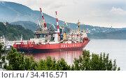 Russian cargo container ship nuclear-powered icebreaker Sevmorput Corporation FSUE Atomflot or Rosatomflot. Container terminal commercial seaport. Pacific Ocean (2019 год). Редакционное фото, фотограф А. А. Пирагис / Фотобанк Лори