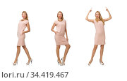 Beautiful lady in pink dress isolated on white. Стоковое фото, фотограф Elnur / Фотобанк Лори