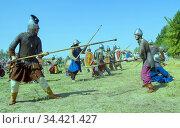 Ancient Knights at the Historical Festival (2014 год). Редакционное фото, фотограф Акиньшин Владимир / Фотобанк Лори