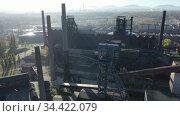 View from drone of old abandoned blast furnaces of Vitkovice Iron and Steel Works, Ostrava city, Czech Republic. Стоковое видео, видеограф Яков Филимонов / Фотобанк Лори