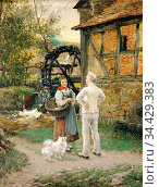 Piltz Otto - Bei Der Cappeler Mühle - German School - 19th Century. Редакционное фото, фотограф Artepics / age Fotostock / Фотобанк Лори