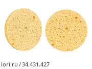 Two beige round cosmetic sponge pads for face make-up cleaning, one... Стоковое фото, фотограф Zoonar.com/Arthur Mustafa / easy Fotostock / Фотобанк Лори