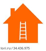 Leiter und Haus - Ladder and home. Стоковое фото, фотограф Zoonar.com/Robert Biedermann / easy Fotostock / Фотобанк Лори