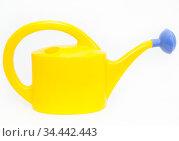 Yellow watering can with blue shower nozzle, white background. Стоковое фото, фотограф Кекяляйнен Андрей / Фотобанк Лори