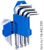 Allen key kit from chrome steel wrenches in blue plastic holder, isolated on white background. Стоковое фото, фотограф Кекяляйнен Андрей / Фотобанк Лори