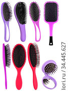 Set of several hair comb brushes for women of different sizes and... Стоковое фото, фотограф Zoonar.com/Arthur Mustafa / easy Fotostock / Фотобанк Лори