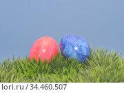 Osterei, ei, eier, ostern, blau, rot, osterfest, tradition, bunt,... Стоковое фото, фотограф Zoonar.com/Volker Rauch / easy Fotostock / Фотобанк Лори