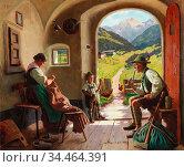 Rau Emil - Ein Sommertag in Tirol - German School - 19th and Early... Стоковое фото, фотограф Artepics / age Fotostock / Фотобанк Лори