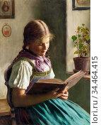 Rau Emil - Girl Reading - German School - 19th Century. Стоковое фото, фотограф Artepics / age Fotostock / Фотобанк Лори