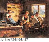 Rau Emil - Kitchen Conversation - German School - 19th and Early ... Стоковое фото, фотограф Artepics / age Fotostock / Фотобанк Лори
