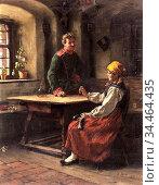 Rau Emil - Officer with Peasant - German School - 19th Century. Стоковое фото, фотограф Artepics / age Fotostock / Фотобанк Лори
