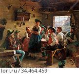 Rau Emil - the Hunter's Return - German School - 19th and Early 20th... Стоковое фото, фотограф Artepics / age Fotostock / Фотобанк Лори