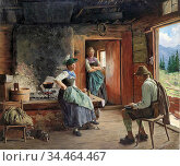 Rau Emil - Visit to the Pasture - German School - 19th and Early ... Стоковое фото, фотограф Artepics / age Fotostock / Фотобанк Лори
