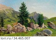 Saal Georg Eduard Otto - Besonnte Alpenlandschaft Mit Fels Und Baum... Стоковое фото, фотограф Artepics / age Fotostock / Фотобанк Лори