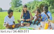 Happy mixed race couple with preteen children gaily spending time at picnic on green lawn. Стоковое видео, видеограф Яков Филимонов / Фотобанк Лори