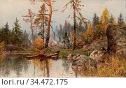 Munsterhjelm Hjalmar - Autumn Mood - Finnish School - 19th Century. Редакционное фото, фотограф Artepics / age Fotostock / Фотобанк Лори