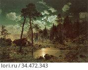 Munsterhjelm Hjalmar - Lake in the Moonlight - Finnish School - 19th... Редакционное фото, фотограф Artepics / age Fotostock / Фотобанк Лори