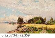 Munsterhjelm Hjalmar - Summer Landscape - Finnish School - 19th Century... Редакционное фото, фотограф Artepics / age Fotostock / Фотобанк Лори