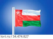 Flag of Oman flying against a blue sky. Стоковое фото, фотограф Zoonar.com/Ruslan Gilmanshin / age Fotostock / Фотобанк Лори