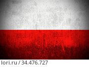 Weathered Flag Of Poland, fabric textured. Стоковое фото, фотограф Zoonar.com/Ruslan Gilmanshin / age Fotostock / Фотобанк Лори
