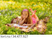Happy little girl reading at the park. Стоковое фото, фотограф Zoonar.com/Ruslan Gilmanshin / age Fotostock / Фотобанк Лори