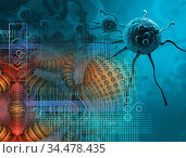 3d rendering - cancer cell in the future. Стоковое фото, фотограф Vitanovski Jovanche / easy Fotostock / Фотобанк Лори