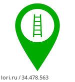 Leiter und Kartenmarkierung - Ladder and location pin. Стоковое фото, фотограф Zoonar.com/Robert Biedermann / easy Fotostock / Фотобанк Лори